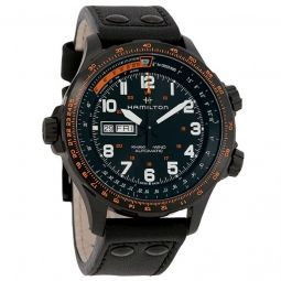 Mens Khaki Aviation X-Wind Leather Black Dial