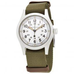 Men's Khaki Field Mechanical Textile White Dial Watch