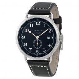 Men's Khaki Navy Pioneer Black Leather Black Dial