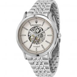 Men's Legend Stainless Steel Ivory (Skeleton Center) Dial Watch