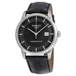 Men's Luxury Automatic Black Leather Black Dial Watch