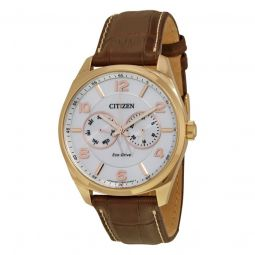 Men's Multi-Function Brown Leather White Dial