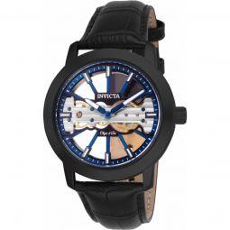 Men's Objet D Art Leather Blue Dial Watch