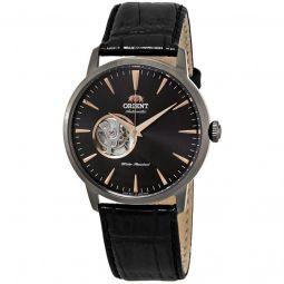 Men's Open Heart Leather Black (Open Heart) Dial Watch