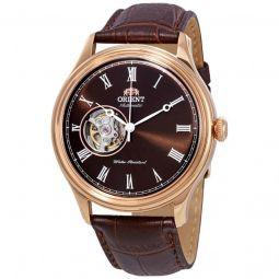 Men's Open Heart Leather Black (Skeletal Window) Dial Watch