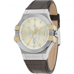 Men's Potenza Leather Gold-tone Dial