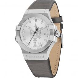 Men's Potenza Leather Silver Dial