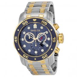 Men's Pro Diver Chronograph Stainless Steel Blue Dial Watch