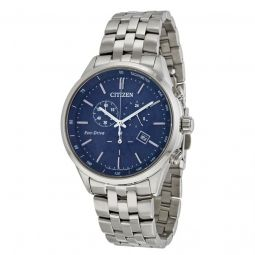 Men's Sapphire Solar Chronograph Stainless Steel Navy Blue Dial Watch