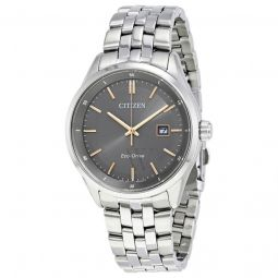 Men's Sapphire Stainless Steel Gunmetal Dial Watch