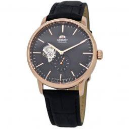 Men's Skeleton Leather Black (Open Heart) Dial Watch