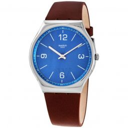 Men's SKINWIND Leather Sun-brushed Blue Dial Watch