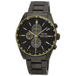 Men's Solar Chronograph Stainless Steel Black Dial Watch