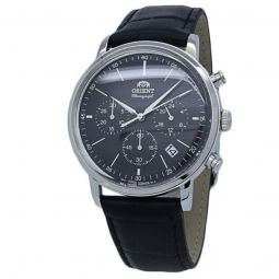 Men's Sports Leather Black Dial Watch