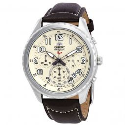 Men's Sporty Chronograph Leather Cream Dial Watch