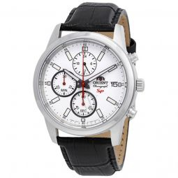 Men's Sporty Chronograph Leather White Dial Watch