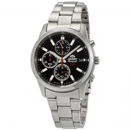 Men's Sporty Chronograph Stainless Steel Black Dial Watch