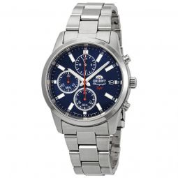 Men's Sporty Chronograph Stainless Steel Blue Dial