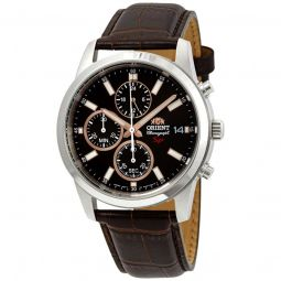 Men's Sporty Chronograph Stainless Steel Brown Dial Watch