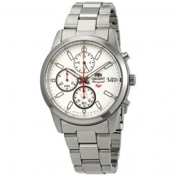 Men's Sporty Chronograph Stainless Steel White Dial Watch