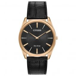 Men's Stiletto Leather Black Guilloche Dial Watch