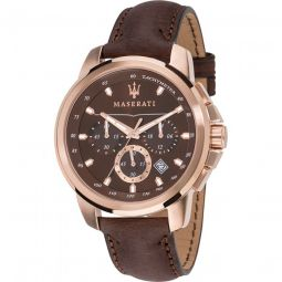 Men's Successo Chronograph Leather Brown Dial