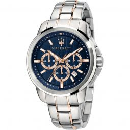 Men's Successo Chronograph Stainless Steel Blue Dial