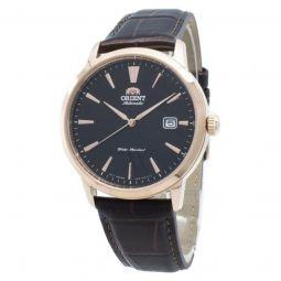 Men's Symphony III Leather Black Dial Watch