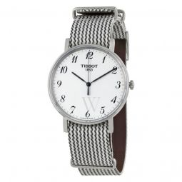 Men's T-Classic Everytime Black and White Fabric White Dial Watch