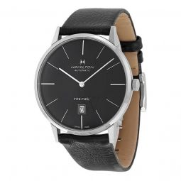 Mens Timeless Classic Black Leather Black Dial