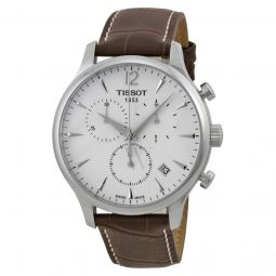 Men's Tradition Chronograph Brown Leather Silver Dial Watch