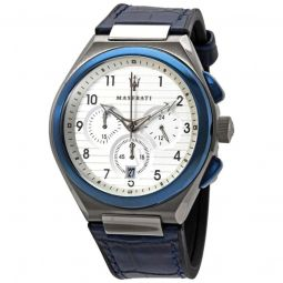Mens Triconic Chronograph Leather White Dial