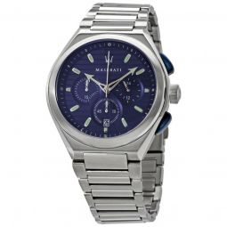 Mens Triconic Chronograph Stainless Steel Blue Dial