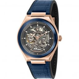 Men's Triconic Silicone with a Blue Leather Top Grey Skeleton Dial Watch