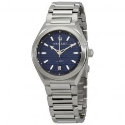 Mens Triconic Stainless Steel Blue Dial