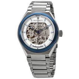 Mens Triconic Stainless Steel White Skeleton Dial