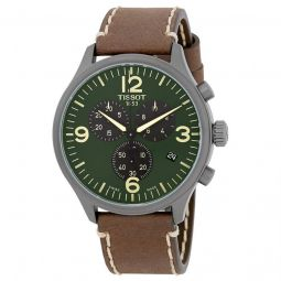 Men's T-Sport Chrono XL Chronograph Leather Olive Green Dial Watch