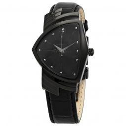 Men's Ventura Cow Leather Black Dial Watch