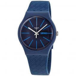 Men's Wave Path Silicone Sun-brushed Blue Dial Watch