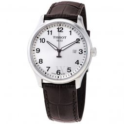 Men's XL Classic Leather Silver Dial Watch