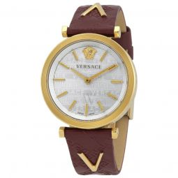 Women's Leather Silver Dial