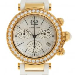 Women's Pasha de Cartier Chronograph Leather Mother of Pearl Dial
