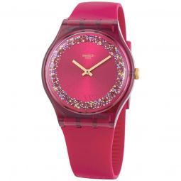 Women's Ruby Rings Silicone Red (Glitter Ring) Dial Watch