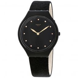 Women's Skinora Leather Black Dial Watch
