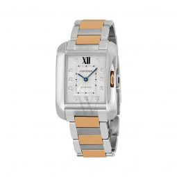 Women's Tank Anglaise Stainless Steel and 18kt Pink Gold Silver Dial