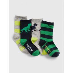 Toddler Dino Crew Socks (4-Pack)
