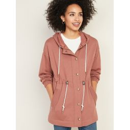 Soft-Brushed Hooded Utility Jacket for Women