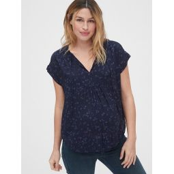 Maternity Pintuck Bib-Front Top in Modal