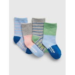 Toddler Stripe Crew Socks (4-Pack)