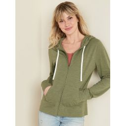 Relaxed Lightweight Slub-Knit Zip Hoodie for Women